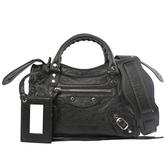 【BALENCIAGA】小銀釦MINI CITY斜背機車包(黑色)300295 D94JN 1000