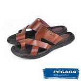 【PEGADA】巴西名品時尚真皮紳士涼拖鞋  深咖啡(131263-DBR)