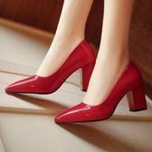 黑色高跟鞋中跟粗跟單鞋女淺口婚鞋紅色漆皮尖頭女鞋 露露日記