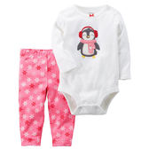Carter's平行輸入童裝 女寶寶 長袖包屁衣&褲子 粉企鵝【CA121H720】
