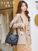 手提包水桶包包女新款韓版簡約百搭單肩斜挎包大容量軟皮手提包 嬡孕哺