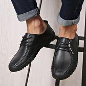 男士平底棕色皮鞋春季繫帶休閒鞋純手工軟底軟皮學生韓版潮流男鞋 後街五號
