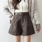VK精品服飾 韓國風時尚毛呢收腰皮口寬口氣質單品短褲