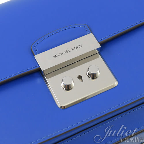 茱麗葉精品【全新現貨】MICHAEL KORS Sloan Editor LG牛皮鎖扣翻蓋方包.希臘藍 (專櫃款)