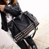 新款歐美時尚女包機車包鉚釘手提包百搭單肩斜挎大包潮   歐韓時代
