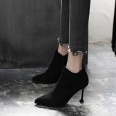 短靴女鞋子尖頭馬丁靴高跟2019春秋款冬季新款細跟韓版百搭女靴子  喵小姐