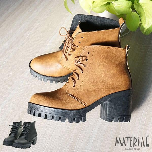 短靴 簡約綁帶厚底短靴 T3185