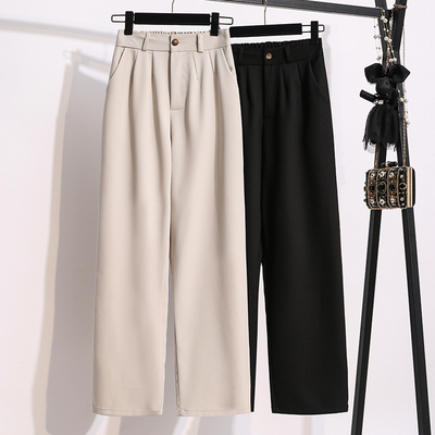 寬褲~M-5XL大碼長褲~冰絲闊腿褲女秋款高腰大碼胖妹垂感黑色直筒寬松西裝拖地褲子MC077衣時尚