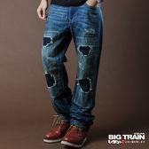 BIG TRAIN 街頭割破印字垮褲-男-中藍