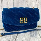 BRAND楓月 BALENCIAGA 巴黎世家 526682 藍色絨布 天鵝絨 BB金釦 金鍊 鍊包 側背包