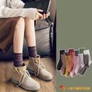 襪子女中筒襪日系高筒長筒黑色堆堆襪【小獅子】