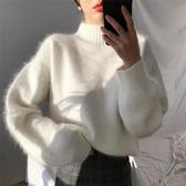 兔毛衫 2019秋冬新款外穿白色兔毛半領海馬毛毛衣女慵懶風寬鬆針織衫潮
