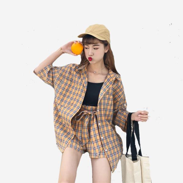 套裝  薄棉格子中袖外套上衣 + 鬆緊腰綁帶寬口短褲 11860008