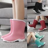 秋春中筒雨靴短筒女水靴膠鞋套鞋防滑加絨保暖水鞋成人雨鞋女【一條街】
