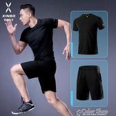 健身套裝男運動健身房跑步速干緊身衣籃球裝備訓練健身服速干衣夏color shop