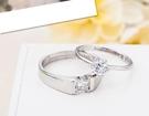 SK173 男女對戒 925標準銀 銀飾時尚婚戒鑲鑽情侶戒指 七夕情侶飾品 白金