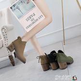鞋子女秋冬2018新款韓版百搭短靴女粗跟高跟馬丁靴英倫蝴蝶結圓頭 魔方數碼館