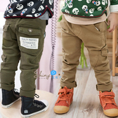 【R1352】shiny藍格子-嬰幼館. 韓版男童時尚口袋加絨加厚休閒長褲