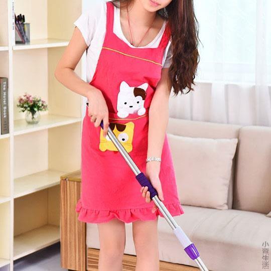 圍裙韓版時尚可愛廚房工作服防水防油圍腰做飯長袖套罩衣JRM-1423
