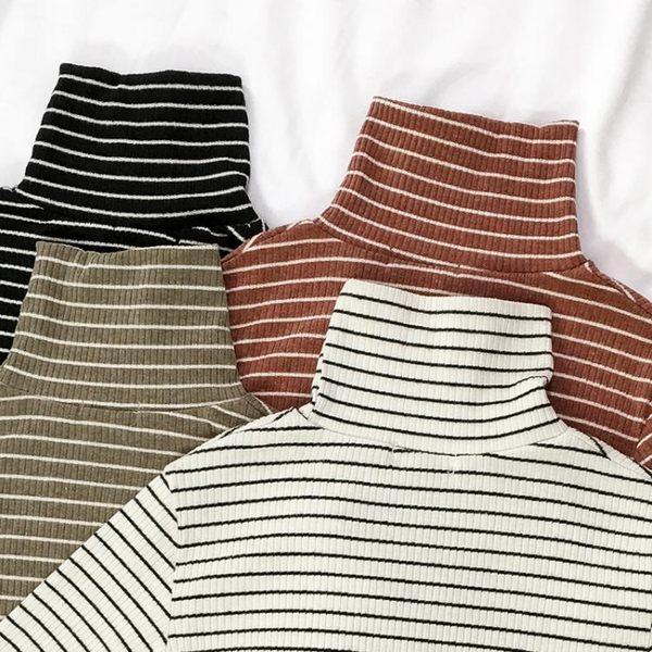 秋冬高領條紋打底衫女長袖韓版寬鬆百搭2018新款春薄款堆堆領t恤 麻洋
