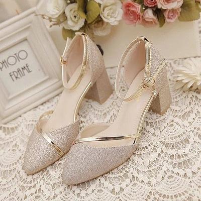 399免運 大碼鞋 一字扣高跟鞋粗跟單鞋 百搭包頭涼鞋女 婚禮鞋夏季春季伴娘中跟潮
