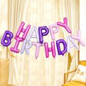 派對裝飾新款兒童生日快樂氣球寶寶周歲美式英文鋁膜氣球 曼莎時尚