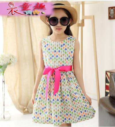 衣童趣 ♥夏季 新款 女童 氣球印花 連身裙 收腰 蝴蝶結 甜美款 洋裝 外出百搭 兒童裙