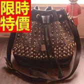 水桶包-可側背經典款個性皮革女肩背包2色58o14[巴黎精品]