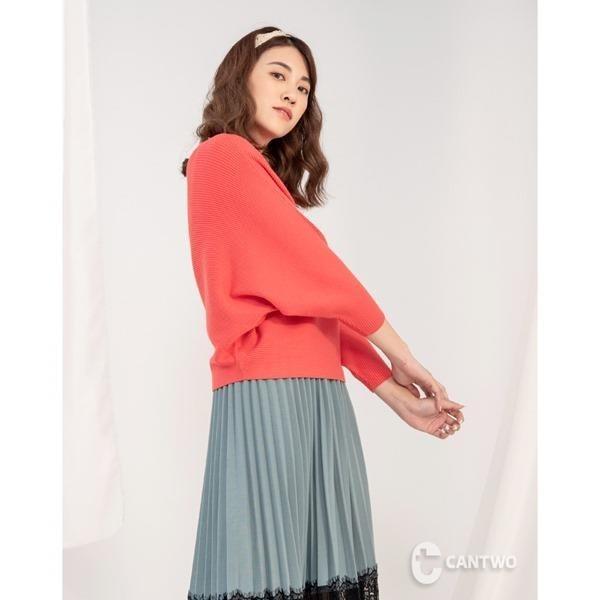 【南紡購物中心】CANTWO優雅坑條飛鼠袖修身針織上衣(共四色)