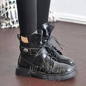 馬丁靴 英倫風系帶厚底帥氣機車靴 歐美粗跟復古短靴子