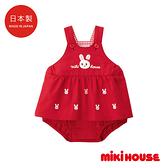 MIKI HOUSE 日本製 舞颯兔刺繡連身短褲裙