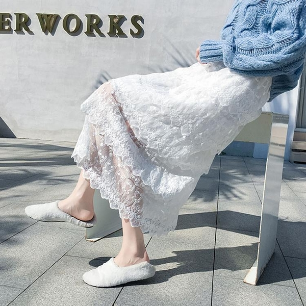 白色蕾絲蛋糕裙女秋裝長裙紗裙半身裙冬天配毛衣網紗裙超仙裙子潮  伊蘿
