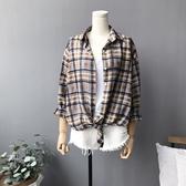 長袖襯衫-雪紡經典格紋寬鬆休閒女上衣73qt12【巴黎精品】