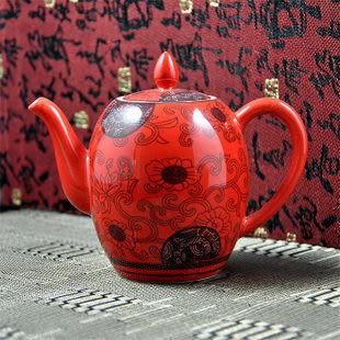茶具 配件 紅釉 蘭藤花 茶壺 優質陶瓷