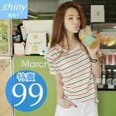 【D917】shiny藍格子-彩夏簡搭.黑紅配色條紋圓領短袖T恤