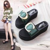 坡跟涼鞋女夏季新款正韓時尚高跟拖鞋女鞋外穿厚底松糕涼拖鞋 三色35-39