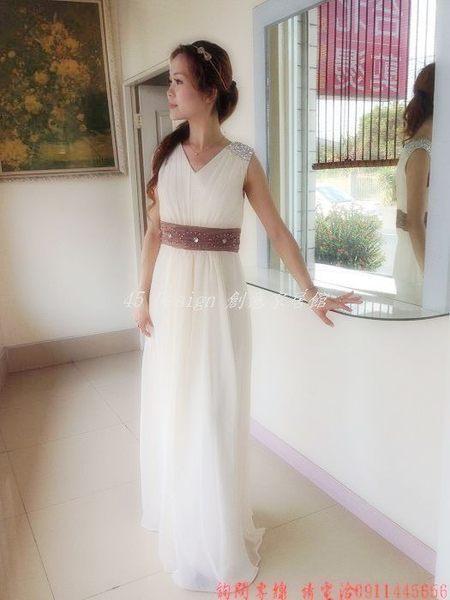 (45 Design) 7天到貨  香檳白色雙肩長晚禮服高腰新娘禮服 伴娘禮服晚宴禮服齊地