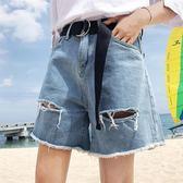 夏季新款胖mm大碼200斤高腰a字顯瘦牛仔短褲寬鬆破洞闊腿熱褲女裝 鉅惠