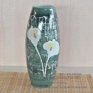 陶瓷擺件  立體雕刻 浮雕荷花 工藝 裝飾 花瓶