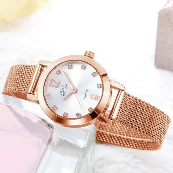 手錶手錶正韓簡約鋼帶女士手錶女時尚潮流女錶學生防水手鍊錶女石英錶 快速出貨