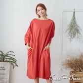 【Tiara Tiara】 五分袖葉紋純棉洋裝(橘紅)