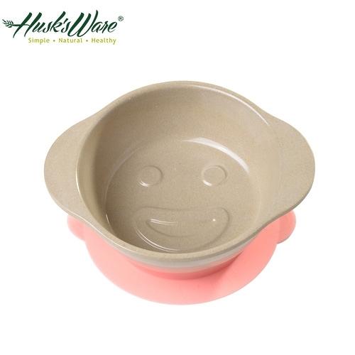 【南紡購物中心】【美國Husk's ware】稻殼天然無毒環保兒童微笑餐碗-粉紅色
