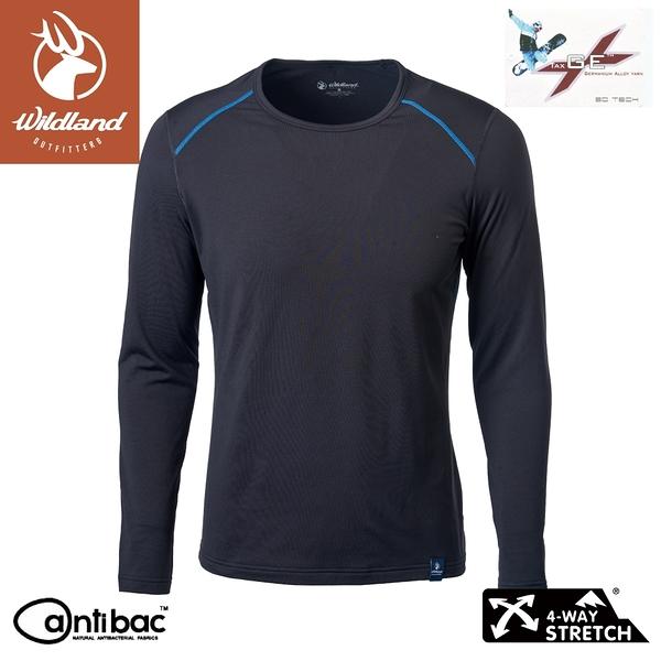 【Wildland 荒野 男 輕量鍺纖維親膚保暖衣《黑》】W2668/機能衣/衛生衣/內搭