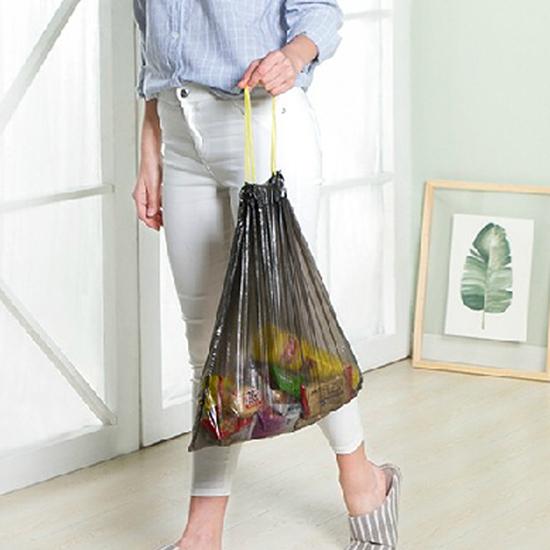 塑膠袋 垃圾袋 廚餘袋 抽繩袋 一次性 塑料袋 防漏 手提式 儲物 收口式 垃圾袋(1入) 【N317】慢思行