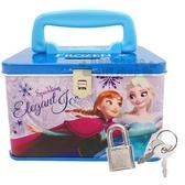 〔小禮堂〕迪士尼冰雪奇緣方形鐵製手提存錢筒附鎖《藍紫跳舞》撲滿儲金筒4714581 06619