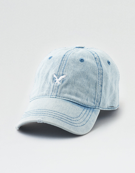 (BJGO) AMERICAN EAGLE_男裝_AE WASHED DENIM STRAPBACK HAT 美國老鷹logo牛仔棒球帽 新品代購