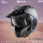 [中壢安信]SHARK X-DRAK 彩繪 HISTER 消光灰藍 玻璃纖維 越野 半罩 安全帽 HE2609AKB