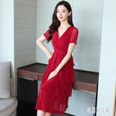 法式小眾復古OL連身裙 女2019夏季氣質收腰顯瘦V領紅色洋裝 zh2181【宅男時代城】