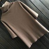 高領打底衫春顯瘦條紋棉質燙金t恤女短袖上衣