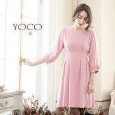 東京著衣【YOCO】蝶結裝飾蕾絲袖打褶洋裝-S.M(6022422)
